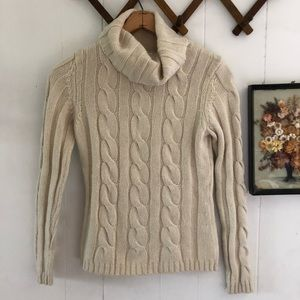 Wool Blend Cream Cable Knit Turtleneck Sweater